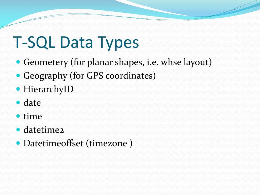 T-SQL Data Types