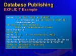 database publishing explicit example