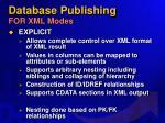 database publishing for xml modes
