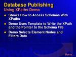database publishing using xpaths demo