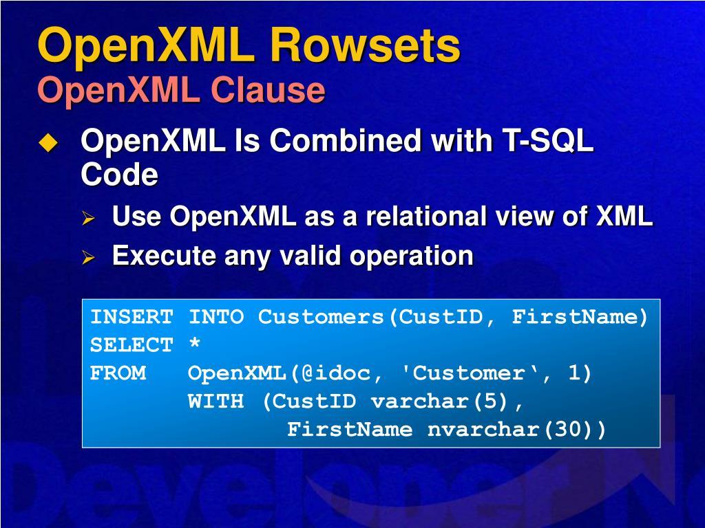 OpenXML Rowsets