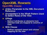 openxml rowsets openxml clause57