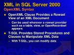 xml in sql server 2000 openxml syntax