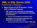 xml in sql server 2000 publishing a database