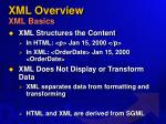 xml overview xml basics