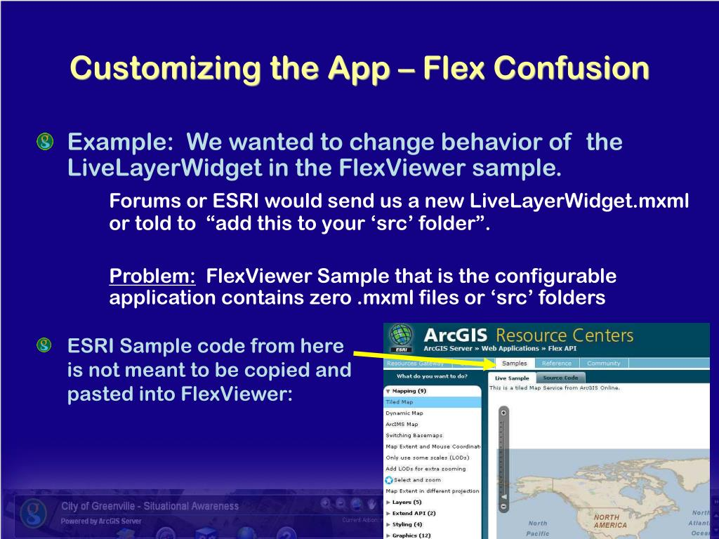 Example:  We wanted to change behavior of  the LiveLayerWidget in the FlexViewer sample.