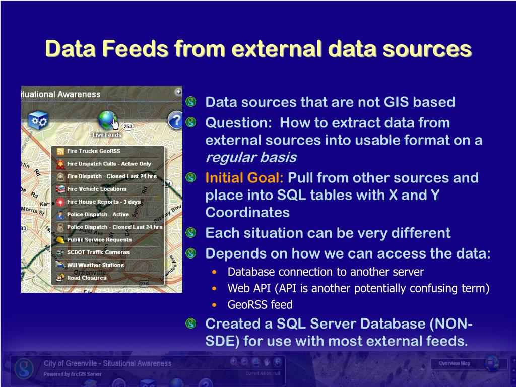 Data sources that are not GIS based
