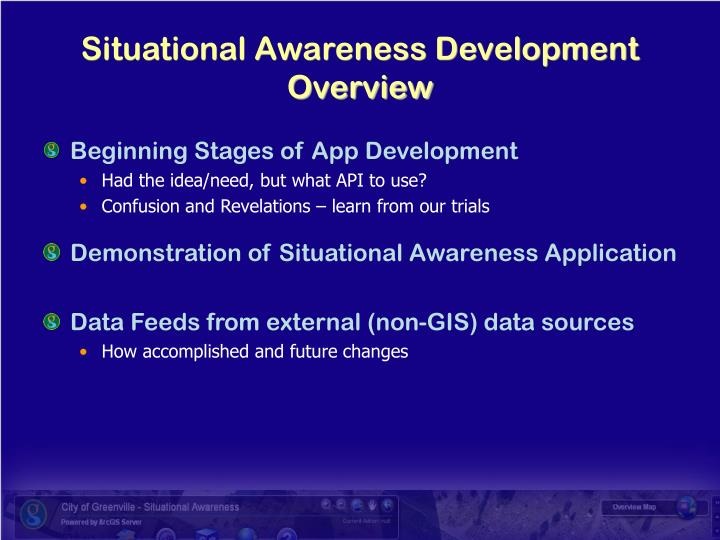 Situational awareness development overview l.jpg