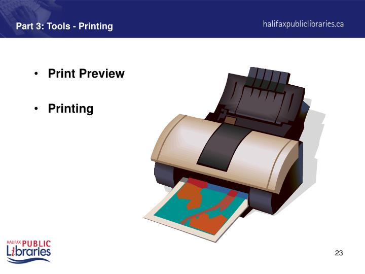 Part 3: Tools - Printing