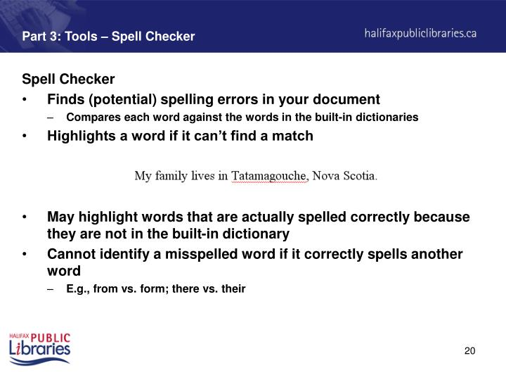 Part 3: Tools – Spell Checker