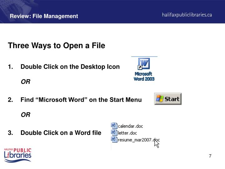 Review: File Management
