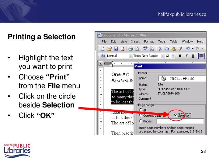 Printing a Selection
