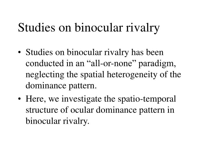Studies on binocular rivalry