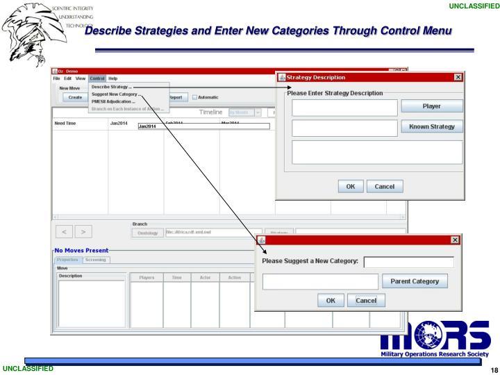 Describe Strategies and Enter New Categories Through Control Menu