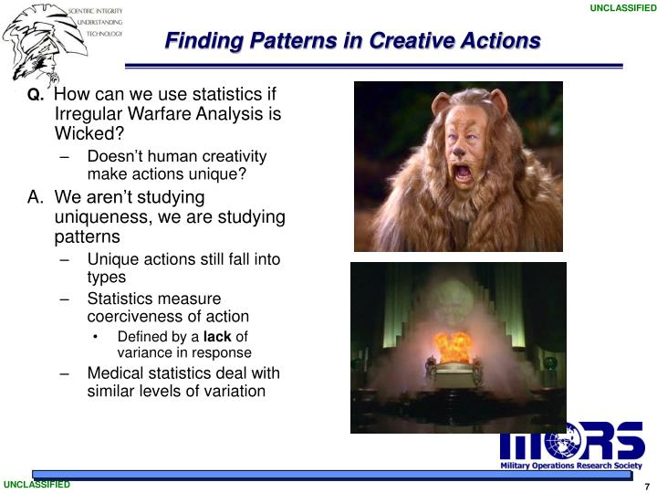 Finding Patterns in Creative Actions
