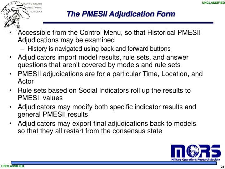 The PMESII Adjudication Form