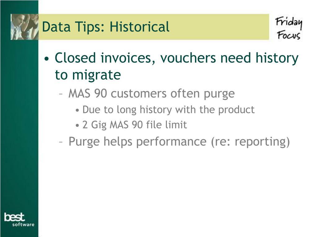 Data Tips: Historical