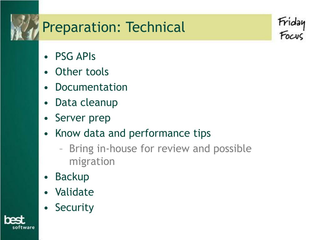 Preparation: Technical