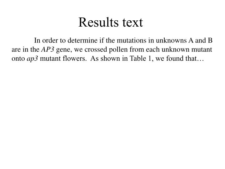 Results text