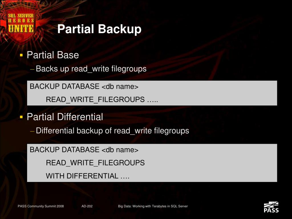 Partial Backup