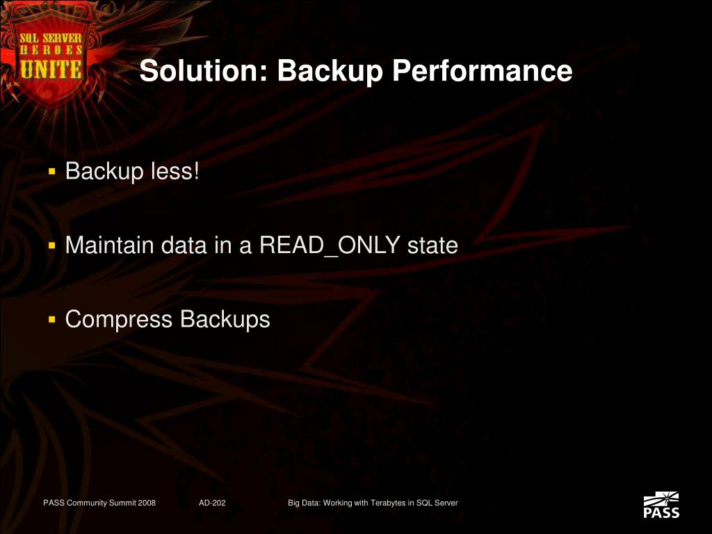 Solution: Backup Performance
