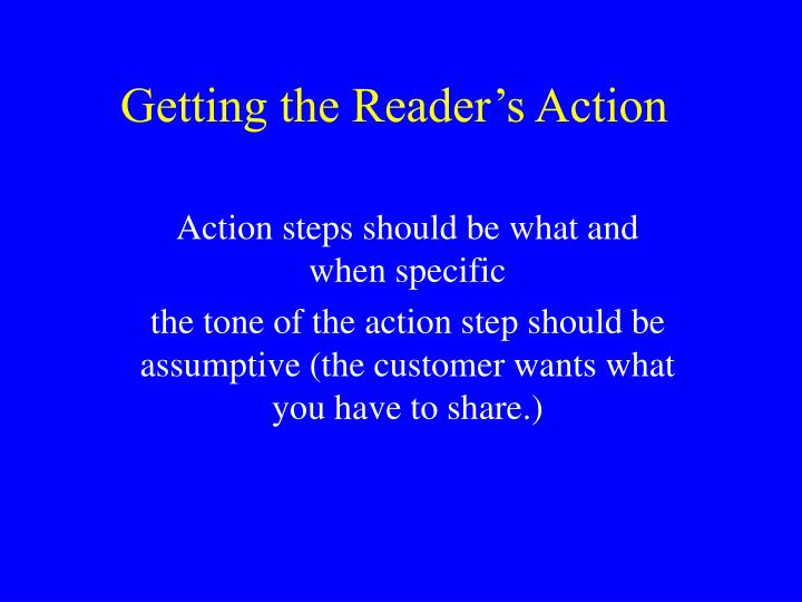 Getting the Reader's Action