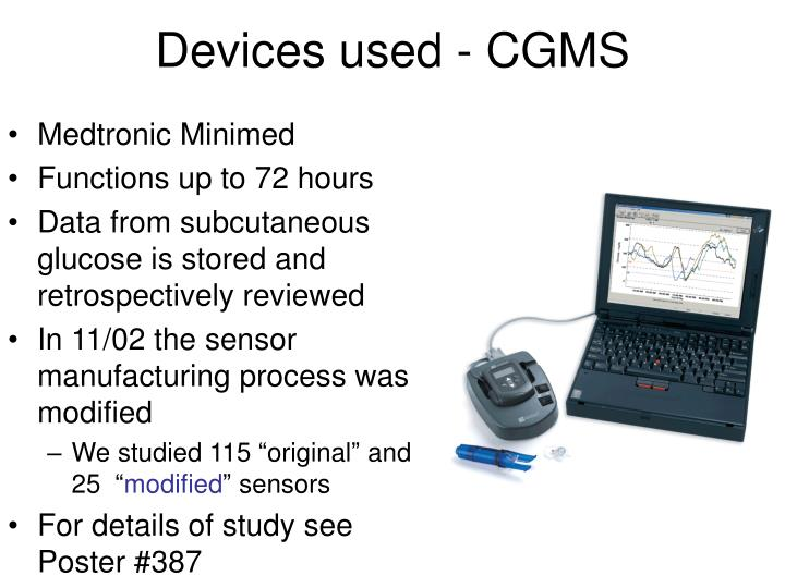 Devices used - CGMS