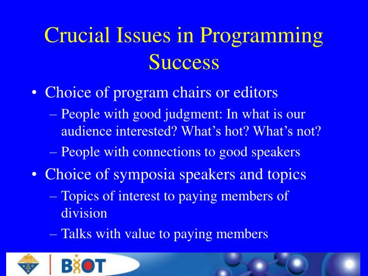 Crucial Issues in Programming Success