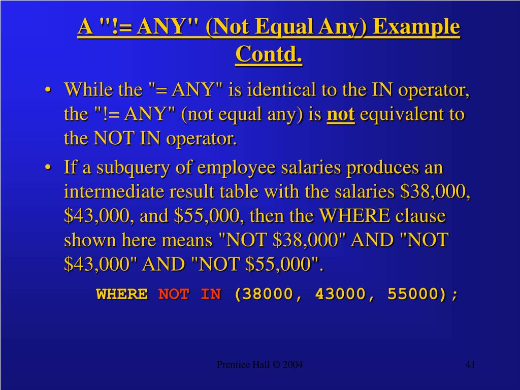 "A ""!= ANY"" (Not Equal Any) Example Contd."