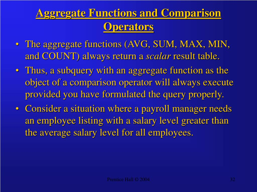 Aggregate Functions and Comparison Operators