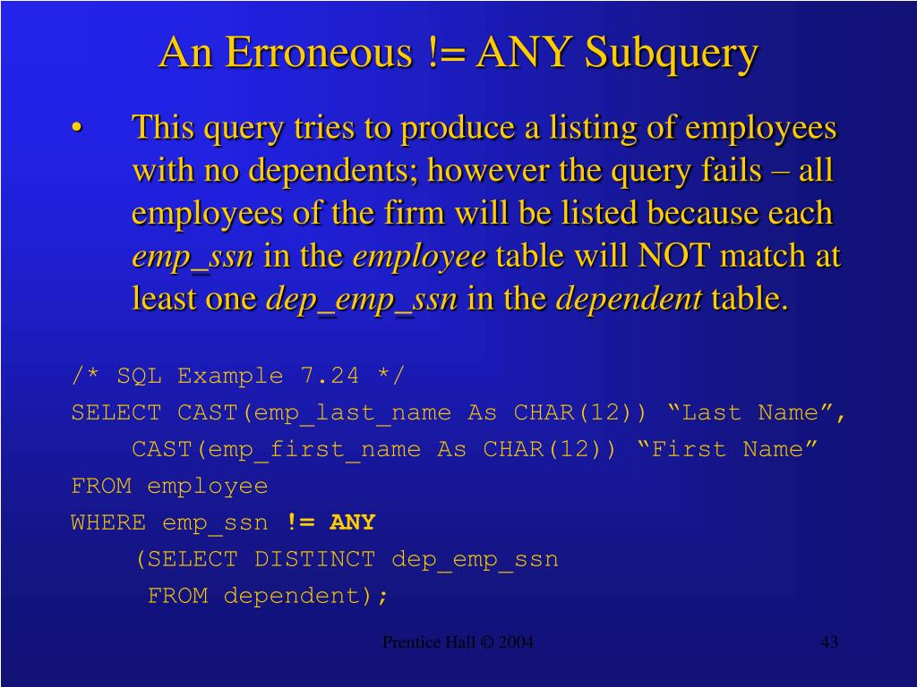 An Erroneous != ANY Subquery