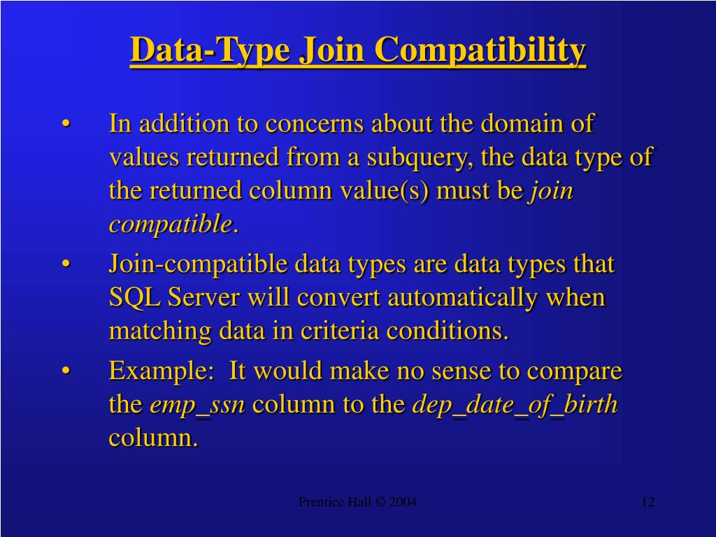 Data-Type Join Compatibility