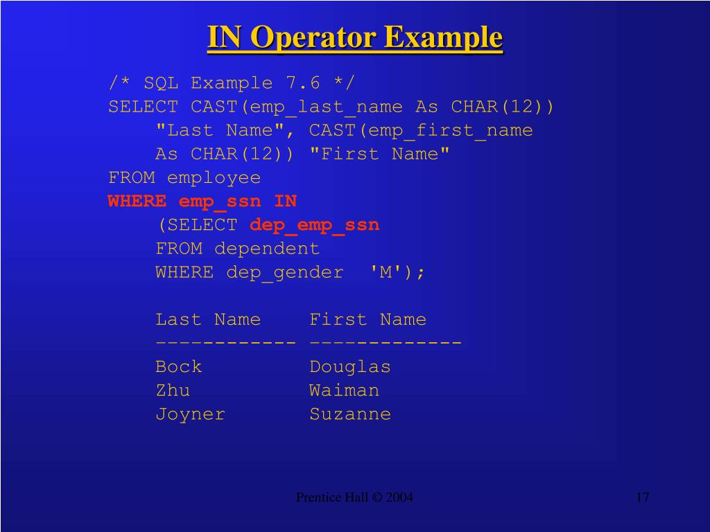 IN Operator Example