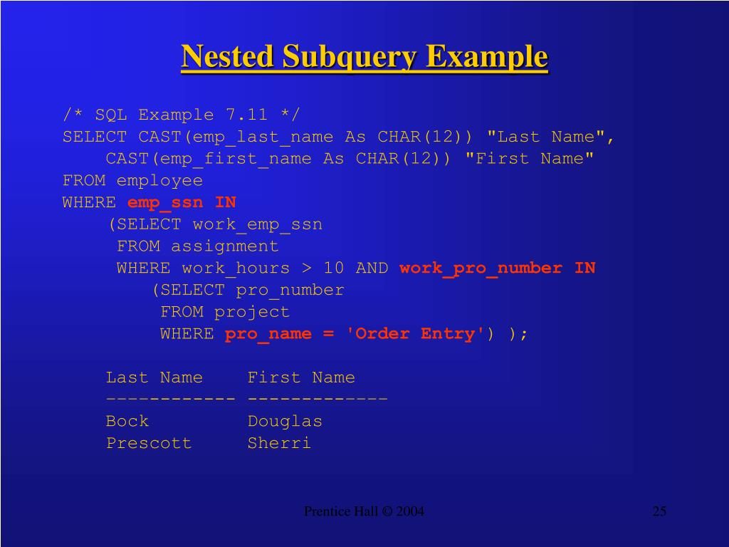 Nested Subquery Example