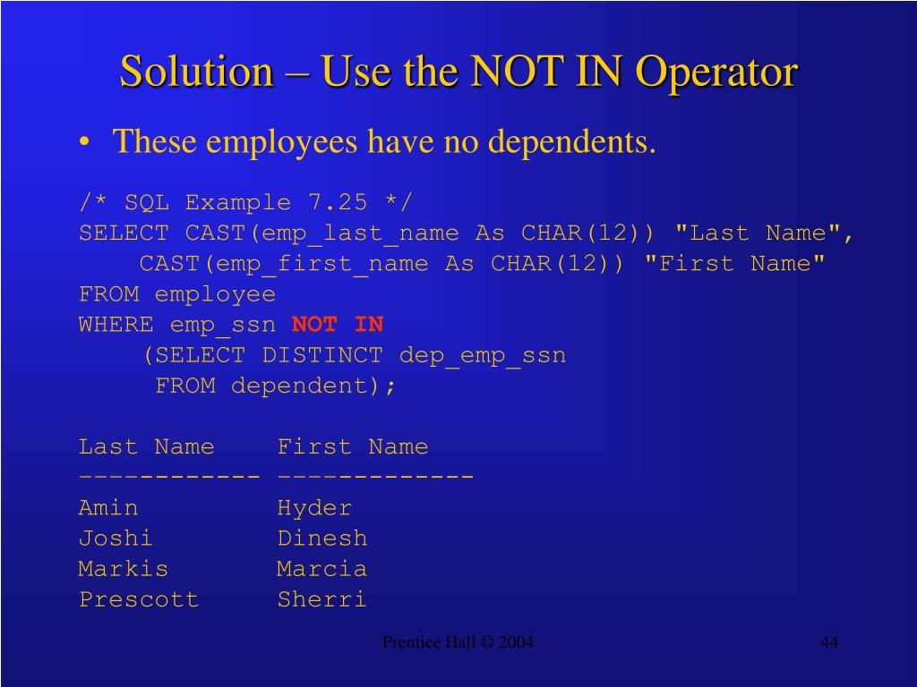 Solution – Use the NOT IN Operator