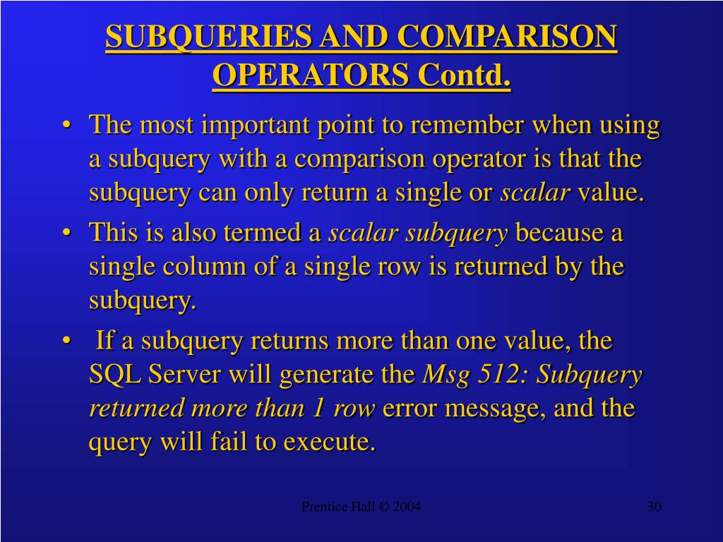 SUBQUERIES AND COMPARISON OPERATORS Contd.