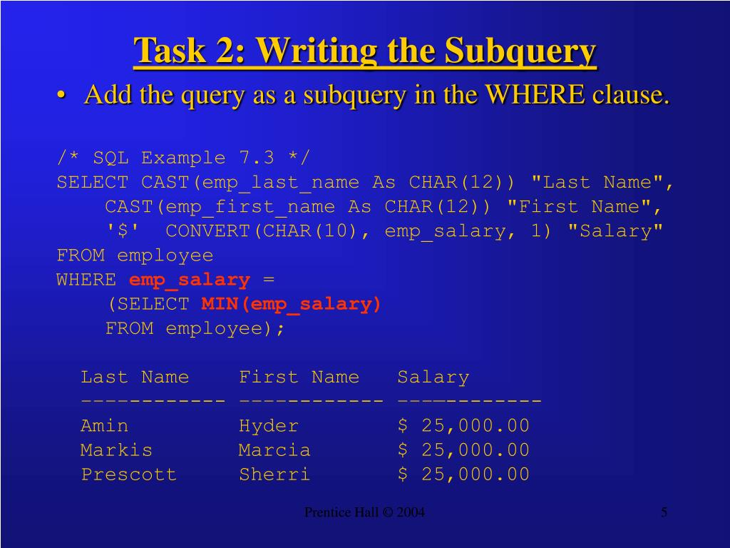 Task 2: Writing the Subquery