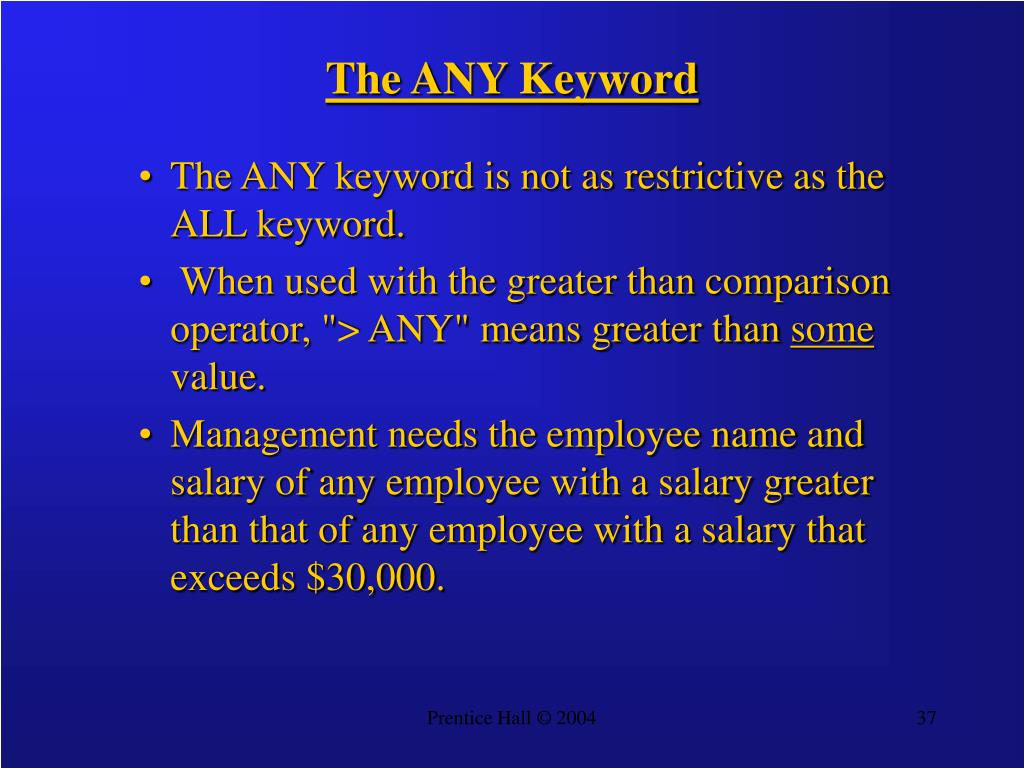 The ANY Keyword