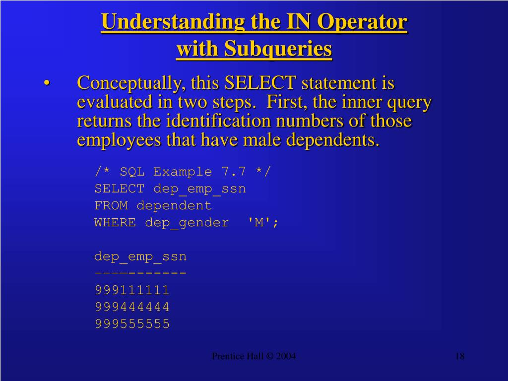Understanding the IN Operator