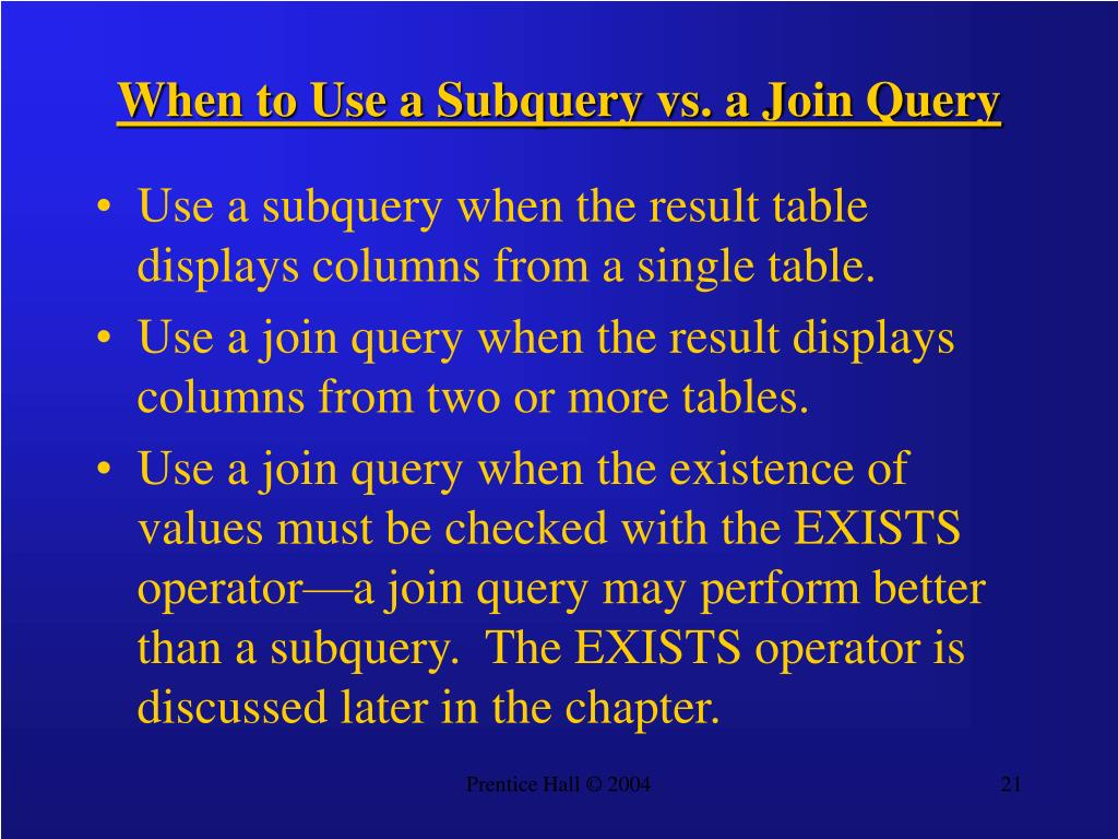 When to Use a Subquery vs. a Join Query