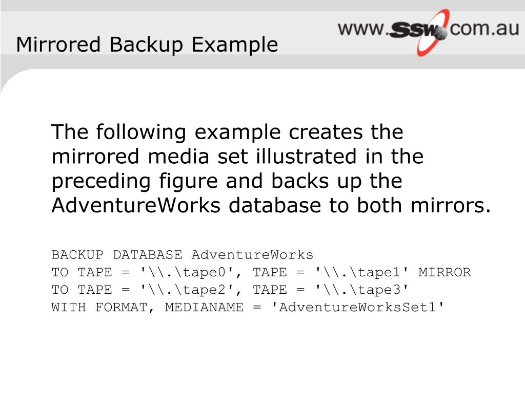 Mirrored Backup Example
