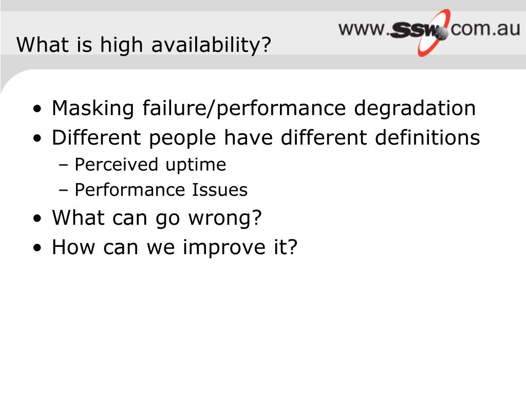What is high availability?