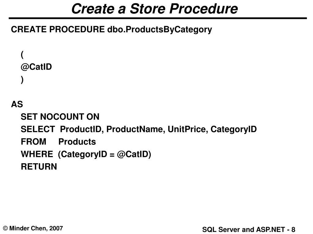 Create a Store Procedure