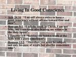 living in good conscience