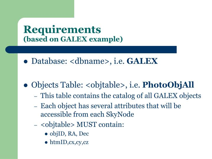 Requirements based on galex example