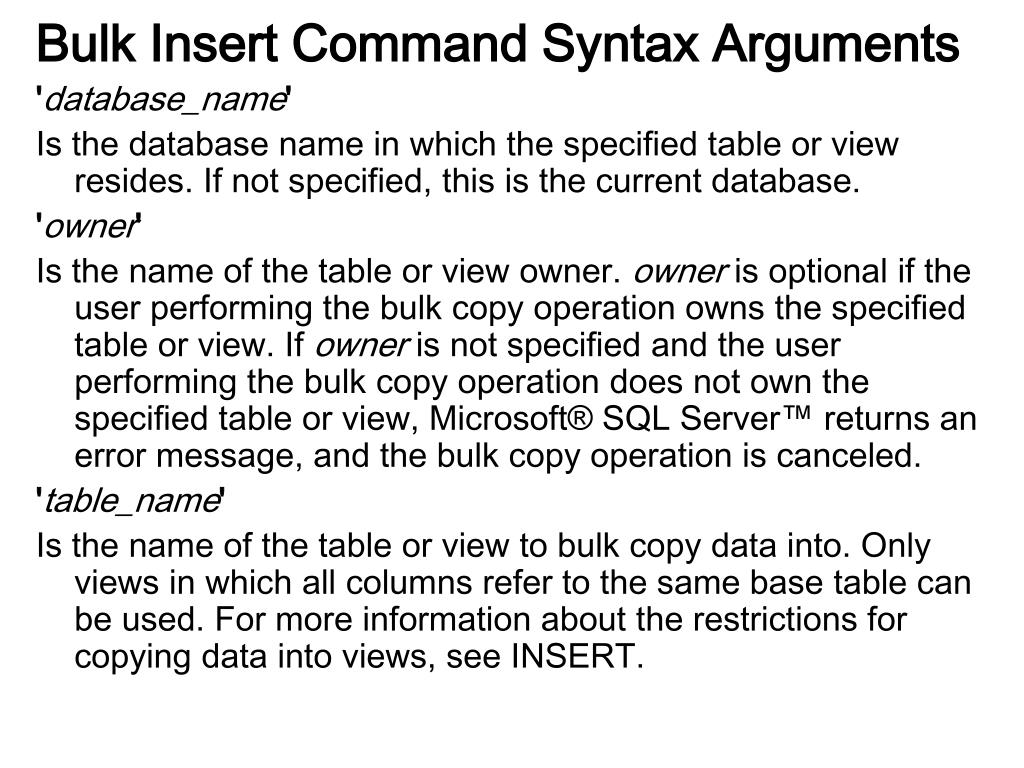 Bulk Insert Command Syntax Arguments