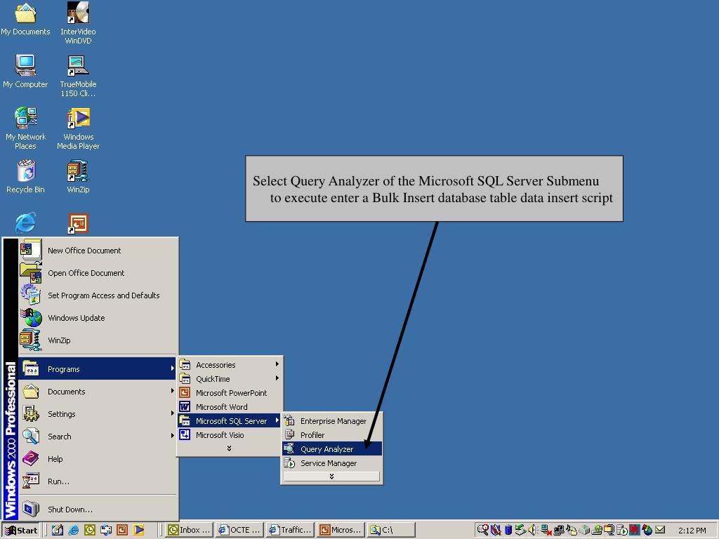 Select Query Analyzer of the Microsoft SQL Server Submenu