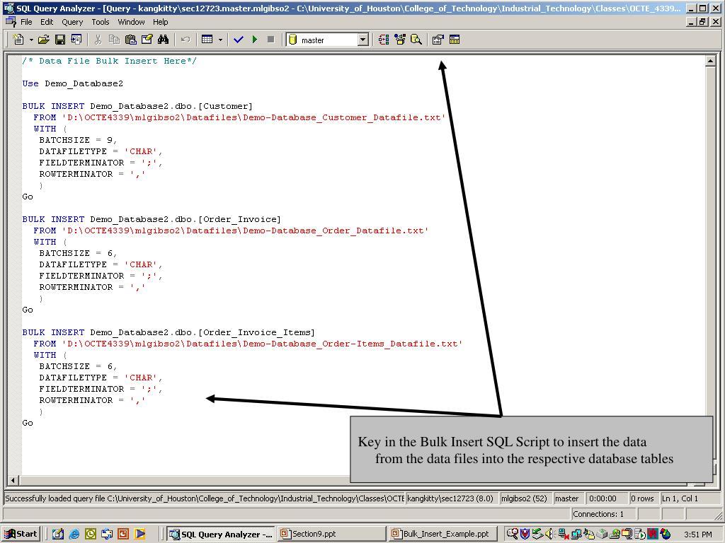 Key in the Bulk Insert SQL Script to insert the data