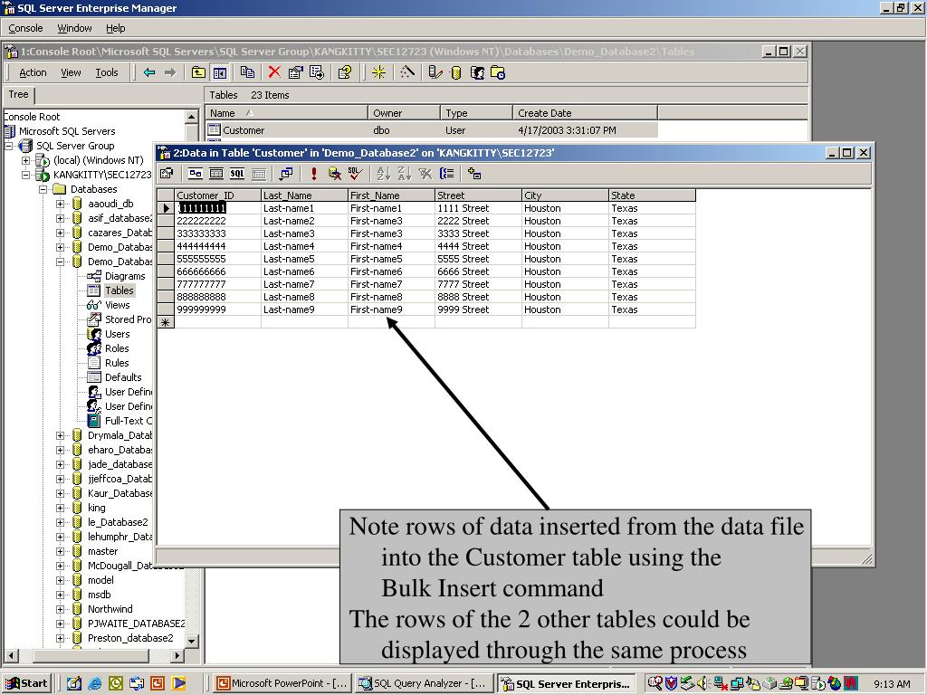 Note rows of data inserted from the data file