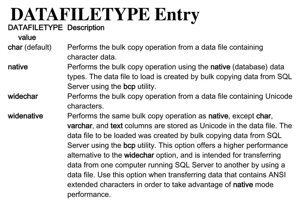 DATAFILETYPE Entry